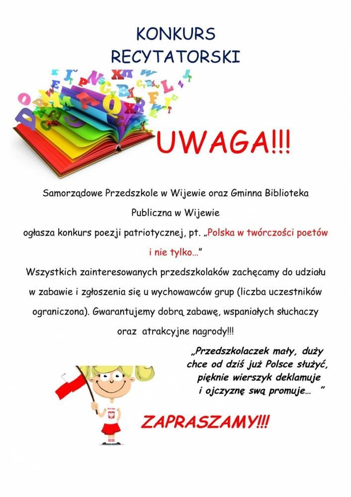 Uwaga Konkurs Samorządowe Przedszkole W Wijewie